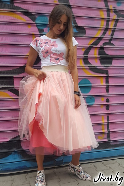 Двуцветна пола от тюл