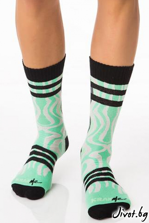 Мъжки зелени чорапи Ice Fire Green / Krak me