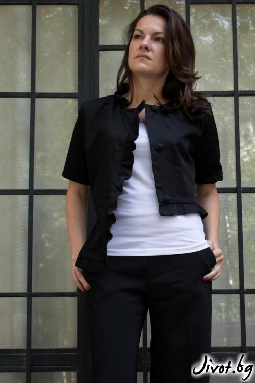 Черно асиметрично сако с къс ръкав / GITANA
