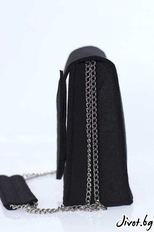 """Черна чанта """"Крило"""" и метална верижка"""