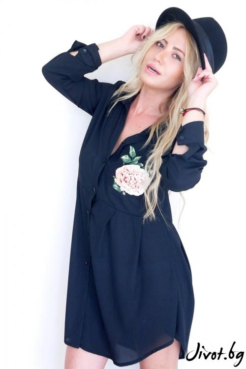 Фамозна черна риза с цвете / LENA