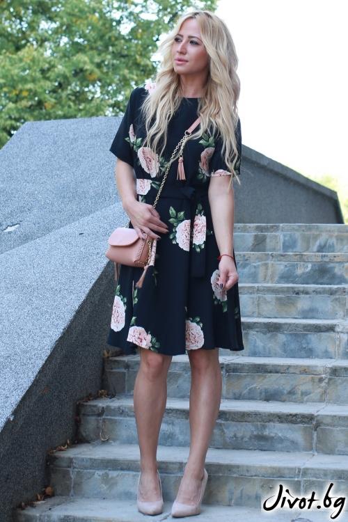 Къса рокля на цветя с колан / LENA