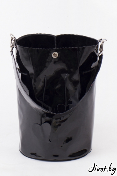 Черна чанта Twisted Black - Bucket Bag / Pesh Art