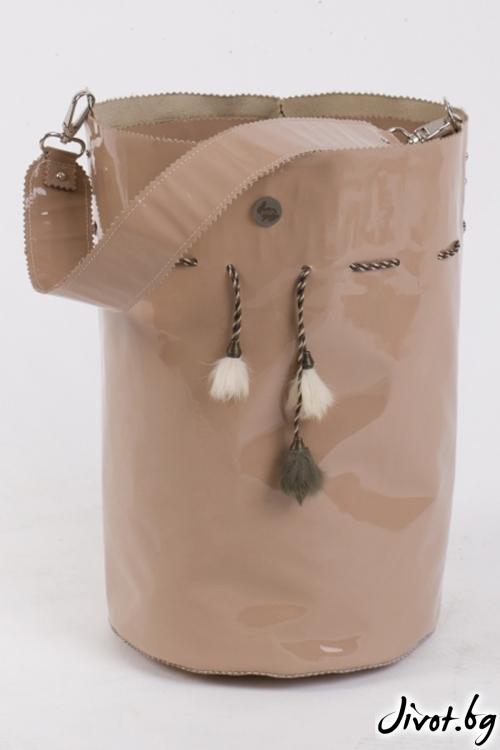 Ръчно изработена чанта в цвят пудра Powder Bag Pesh Art.