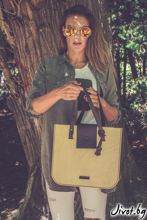 Голяма светла чанта Wood Leather / BLEND