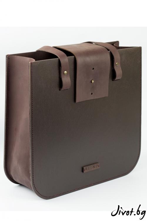 Голяма тъмна чанта Wood Leather / BLEND