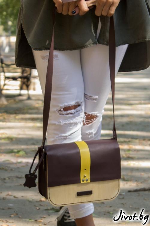 Малка кожена чанта Wood Leather с капак / BLEND