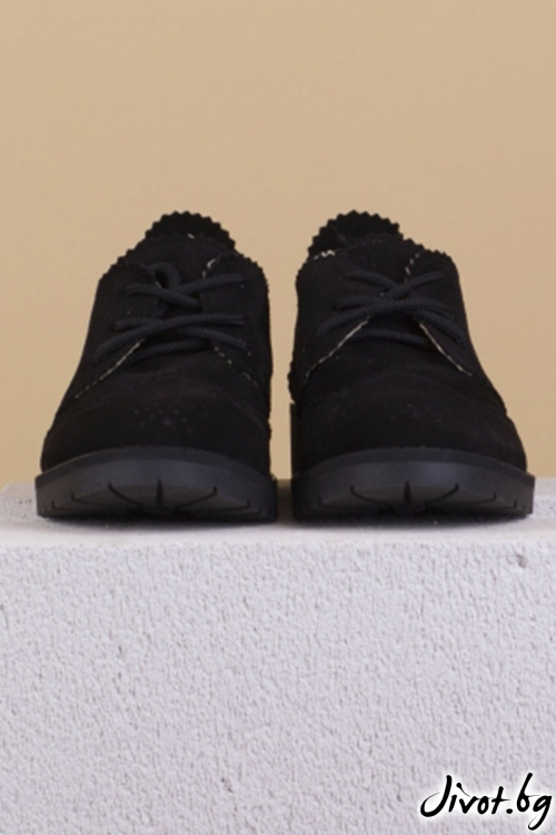 Черни велурени обувки Mono Black / PESH ART
