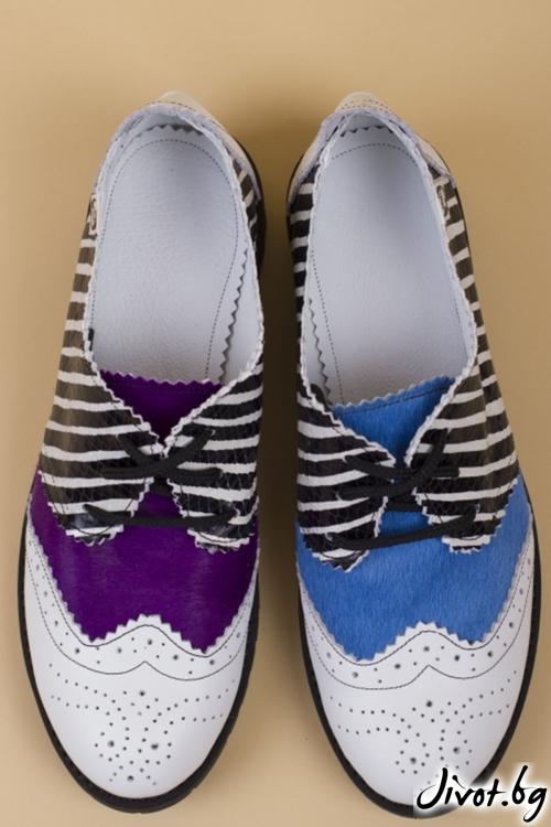 Черно-бели кожени обувки Furry Stripes PESH ART