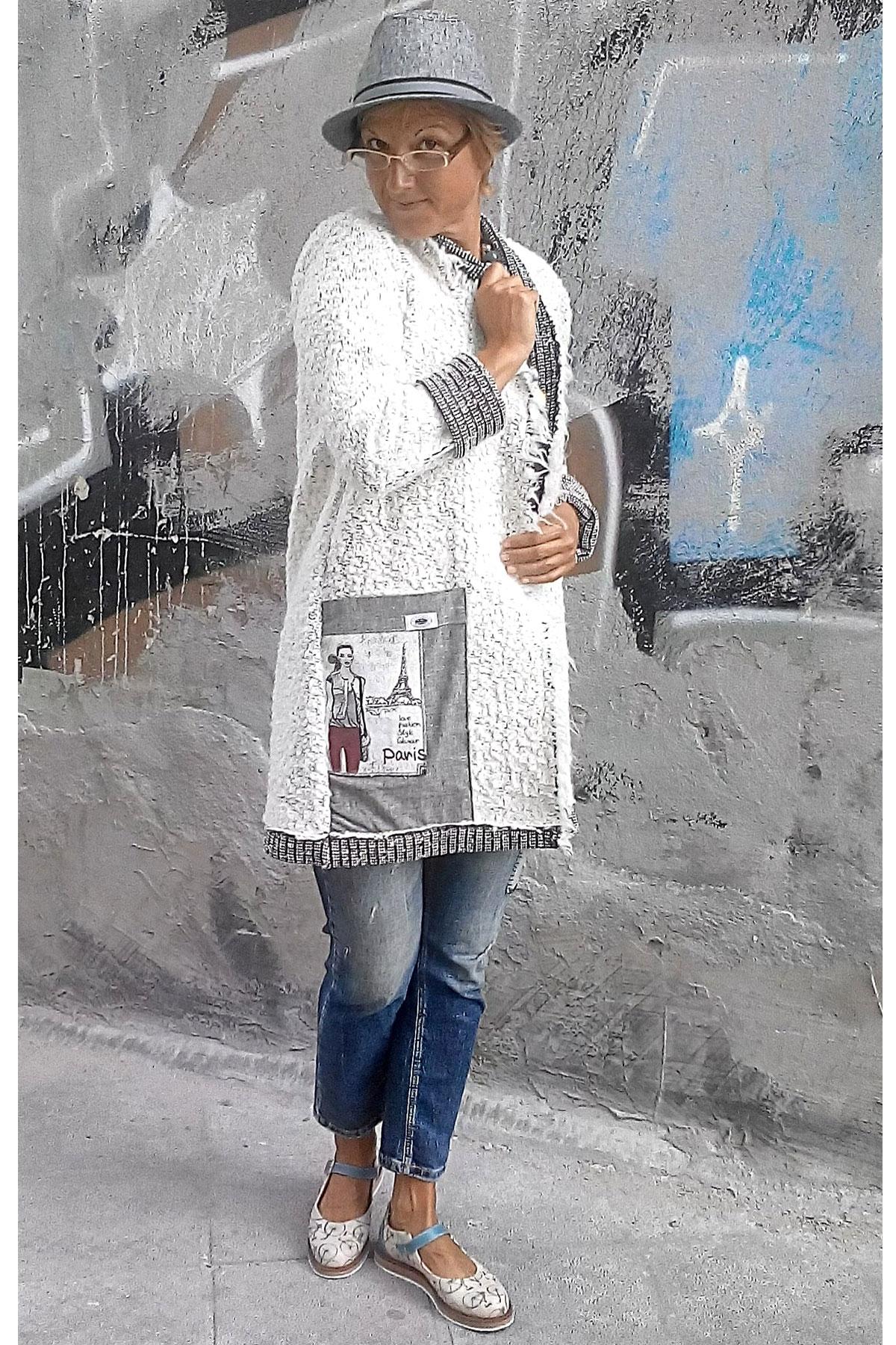 Мека бяла жилетка със джоб / Роклите на Нора