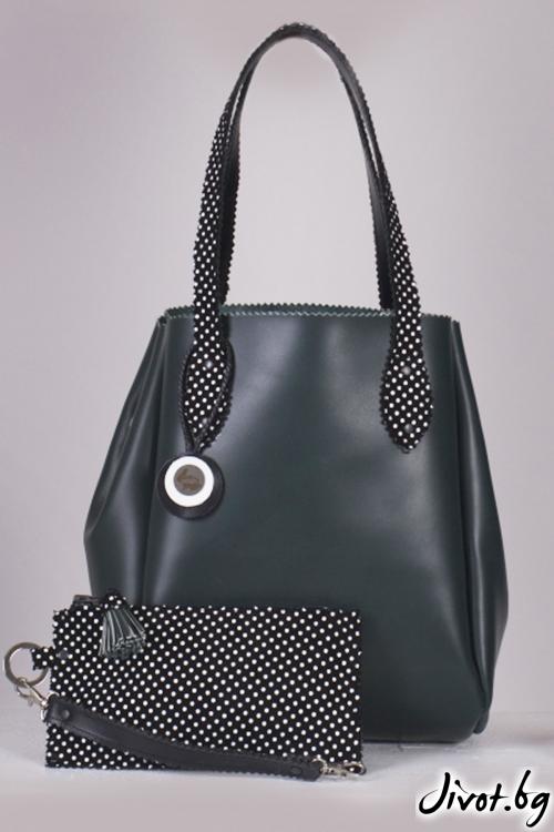 Кожена тъмнозелена чанта Pesh art