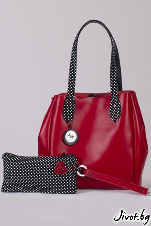 Червена кожена чанта 1960 Bag / Pesh Art