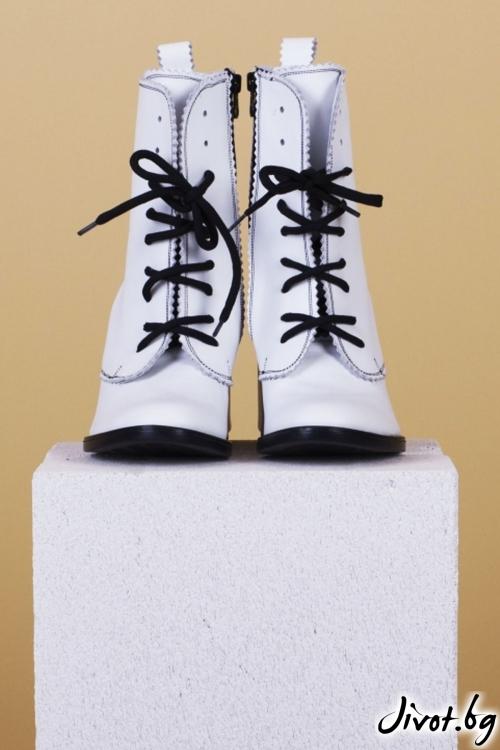 Дамски кожени обувки на ток White Babe / PESH ART
