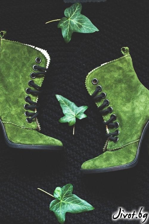 Дамски обувки на ток Green Babe от велур / PESH ART