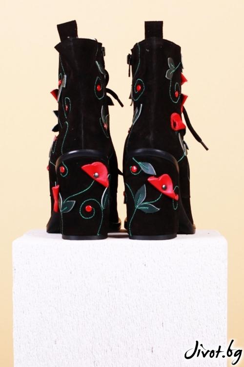 Дамски кожени обувки на ток Black Mist and Poppies / PESH ART