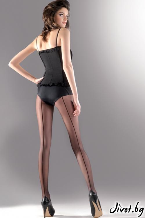 Черен чорапогащник с ръб Linette / 116