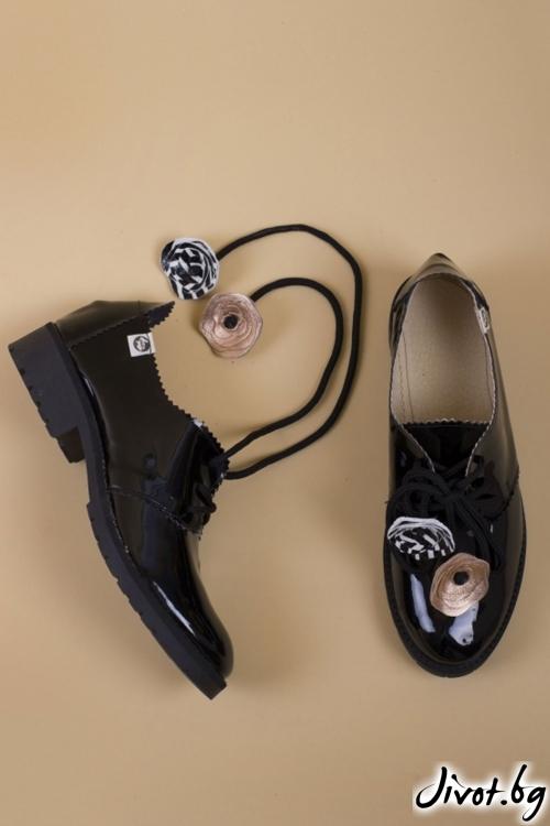 Черни кожени обувки Splendor Comfort / PESH ART