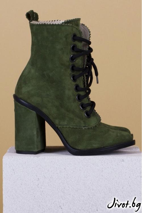 Дамски боти от естествен велур Green Babe / PESH ART
