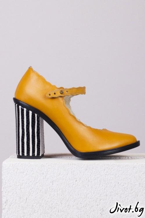 Дамски кожени обувки на ток Coffee Break / PESH ART