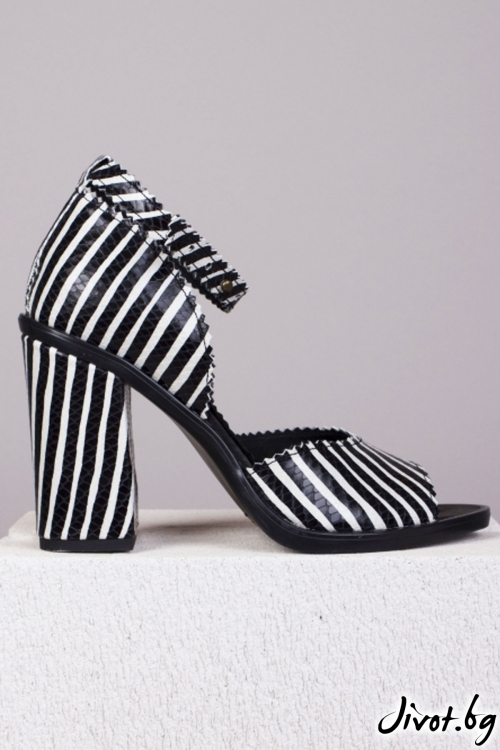 Черно-бели кожени обувки Monochrome Babe / PESH ART