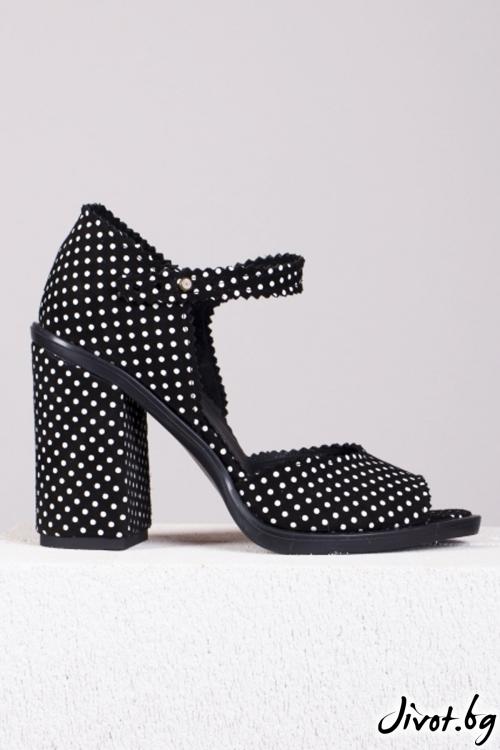Черно-бели кожени обувки Peek-a-boo / PESH ART