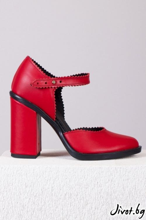 Червени кожени обувки на ток Classic Red Babe / PESH ART
