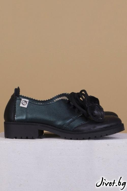 Дамски обувки в тъмно зелено и черно Taurus / PESH ART