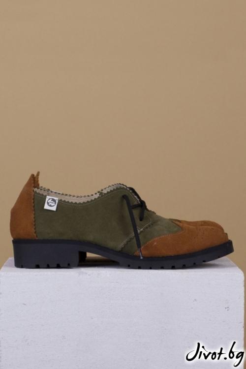 Велурени дамски обувки Precious Green and Crokank / PESH ART
