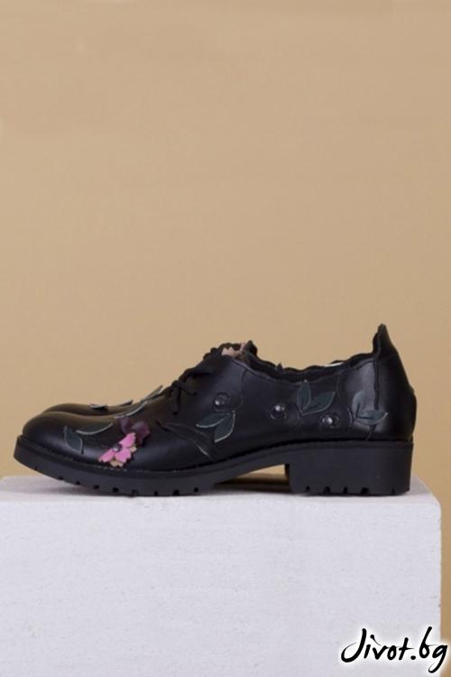 Кожени черни обувки с декорация Black Tenderness / PESH ART