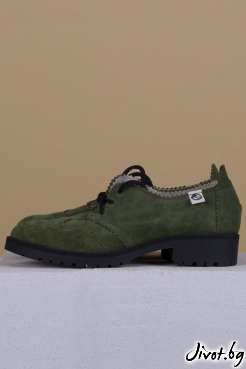 Дамски кожени обувки Green Precious Colors / PESH ART