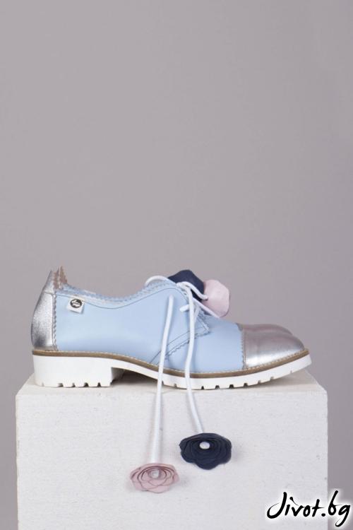 Сини кожени обувки Iris-Silver / PESH ART