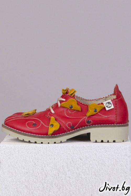 Червени кожени обувки Passion for Nature / PESH ART