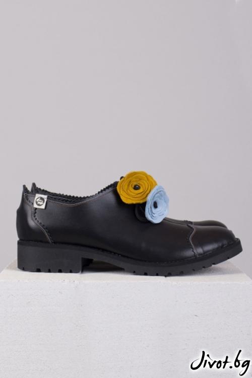 Класически черни кожени обувки Style / PESH ART