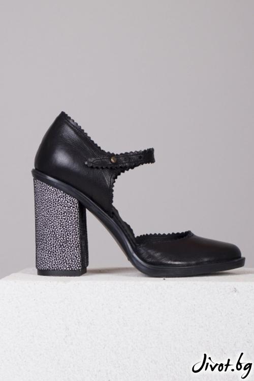 Черни кожени обувки на ток Dolaro Black / PESH ART