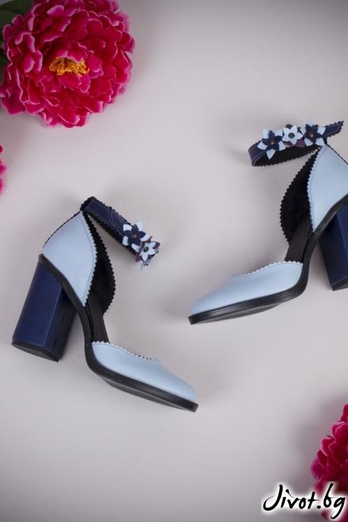 Сини кожени обувки на ток Festive Blue Babe / PESH ART