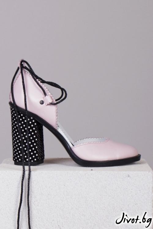 Розови кожени обувки на ток Pink Pretty Babe / PESH ART
