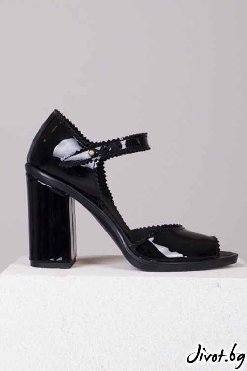 Черни кожени лакирани обувки на ток Sexy twist / PESH ART