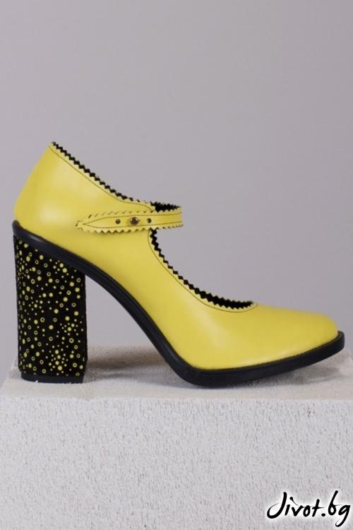 Жълти кожени обувки на ток Bubbles Babe / PESH ART