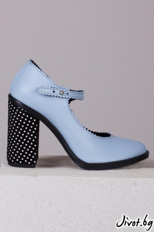 Сини кожени обувки на ток Sky Blue Babe / PESH ART