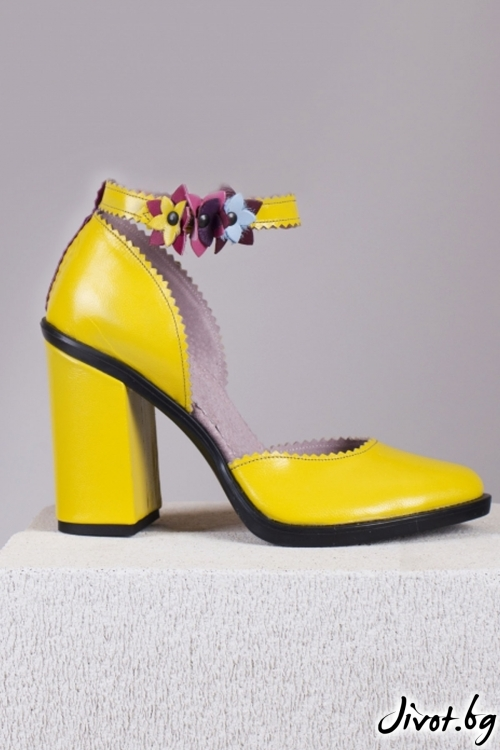 Жълти кожени обувки на ток Festive Babe / PESH ART