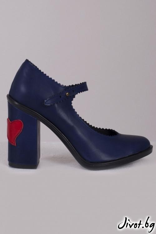 Сини кожени обувки на ток Marine Babe / PESH ART