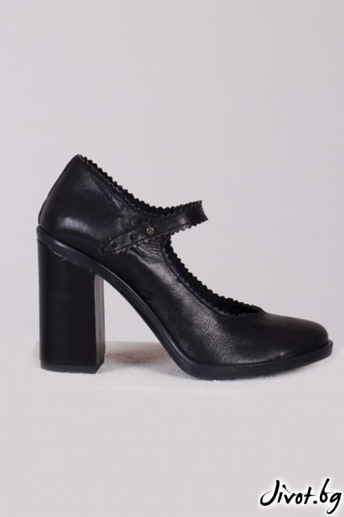 Черни кожени обувки на ток Classic Babe / PESH ART