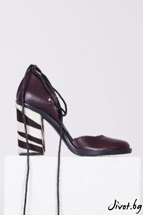 Кафяви кожени обувки на ток Chocolate and Flowers / PESH ART