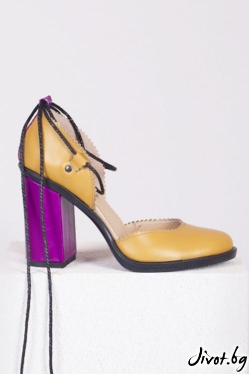 Жълти кожени обувки на ток Camel Babe / PESH ART