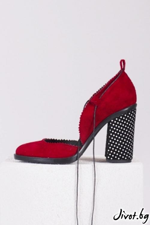 Червени велурени обувки на ток Pretty Babe / PESH ART