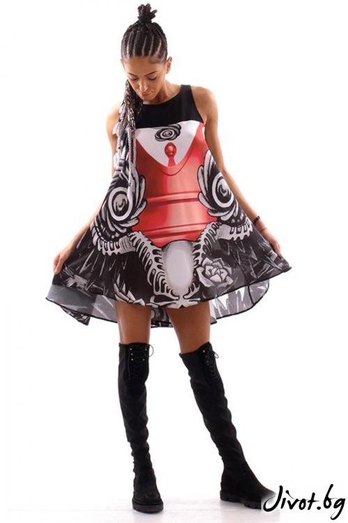 Красива рокля с дизайнерски принт / Cherry You