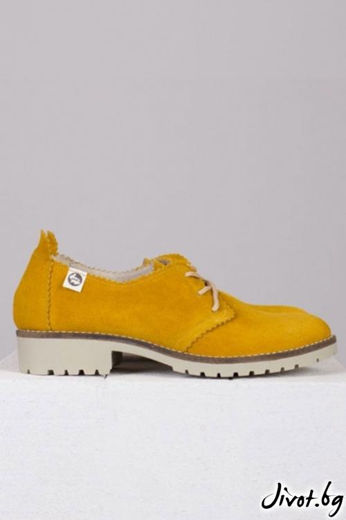 Жълти дамски обувки от естествена кожа Sunny Day / PESH ART