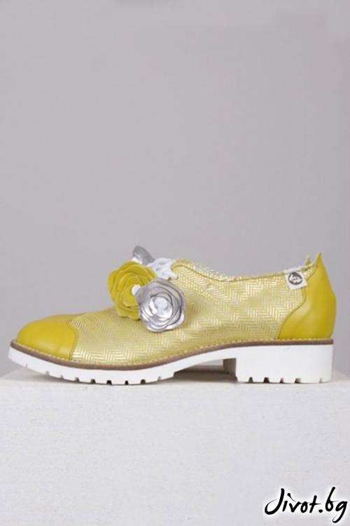 Красиви дамски обувки от кожа и велур Limoncello / PESH ART