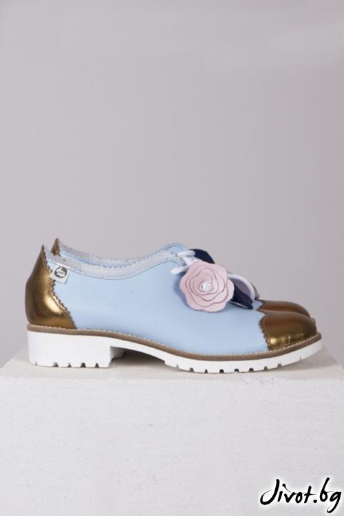 Сини кожени обувки Iris- Gold / PESH ART