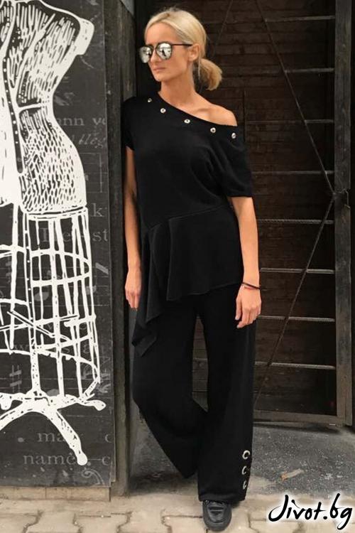 Черна памучна блуза с капси / Cherry You